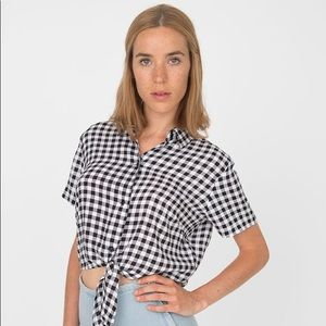 American Apparel tie up cropped rayon blouse